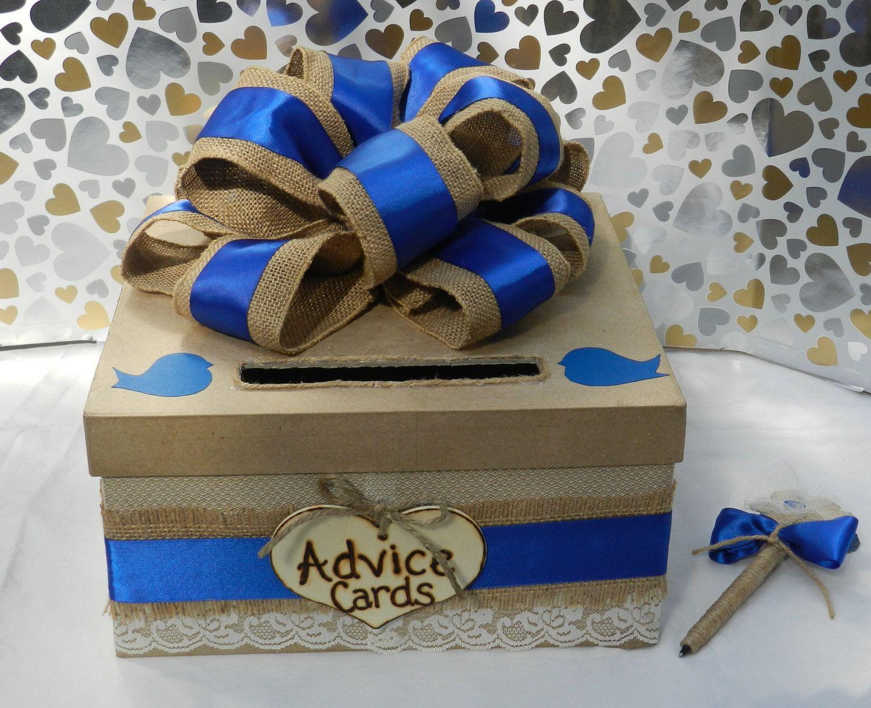 Satin wedding card box with royal blue flower and rhinestone mesh trim - Royal Blue Rustic Chic Burlap Pen Advice Box Card Box Wedding Card Box 85 00