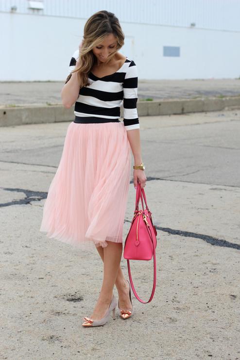 Piper Street Light Pink Pleated Tulle Skirt #Piper Street Skirt 2014 #Tulle Skirt Looks