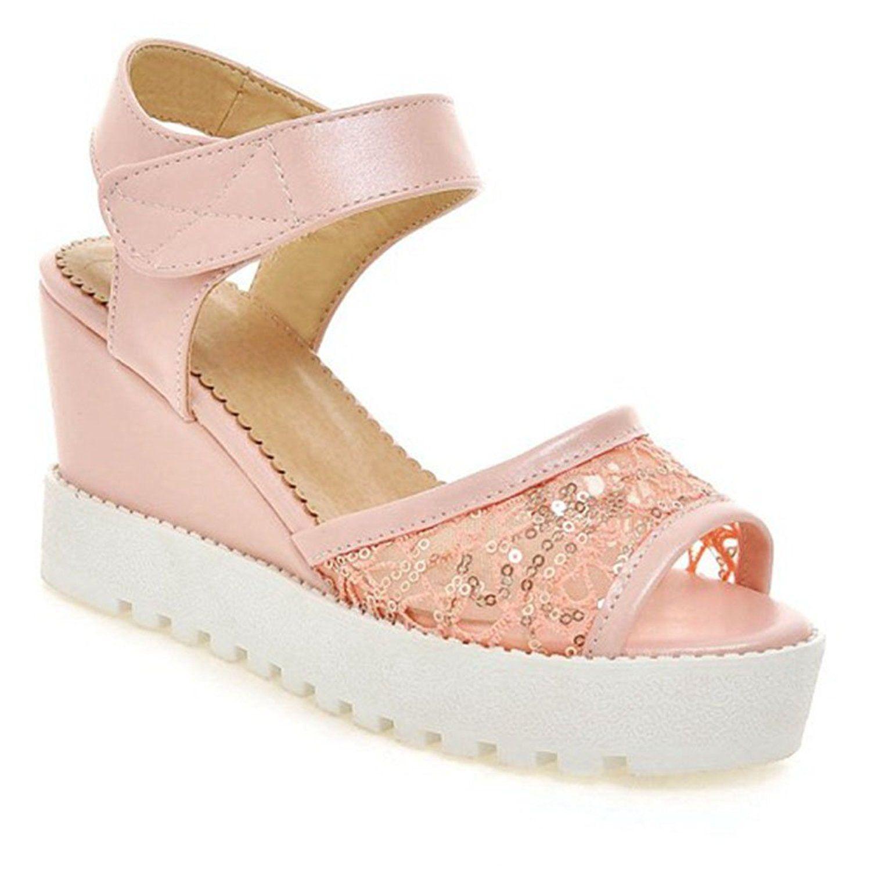 15c2e16b52f8 XRU Women Sweet Flowers Printed Peep Toe Rhinestone Ankle Strap Platform  Wedge Sandals Pink size 7