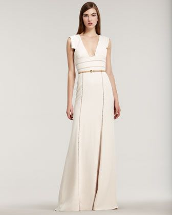 Cape-sleeve silk-crepe gown Elie Saab vaxehpwg