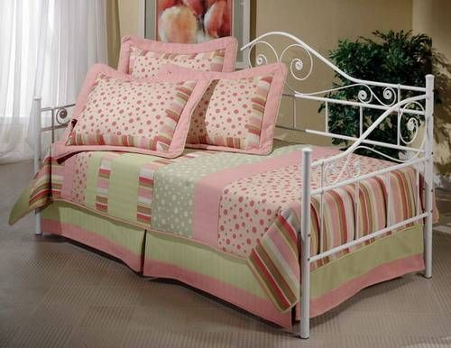 White Wrought Iron Daybed Pink Covers Design