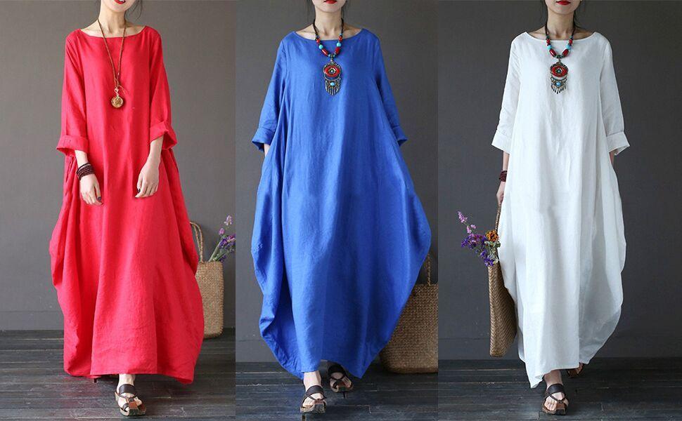 Frauen Im Eleganten Baumwolle Und Leinen Maxi Kleid Weite Rocke Und Grosse Black S Amazon De Bekleidung Kleider Damen Kleider Modestil
