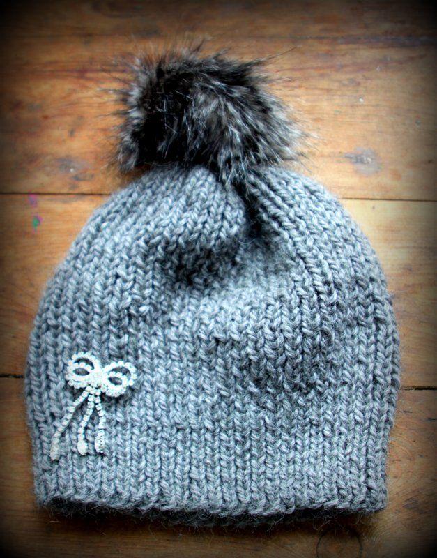 Le bonnet et le pompon   un tuto !   Knit until my hearts content ... e68f0d90a48
