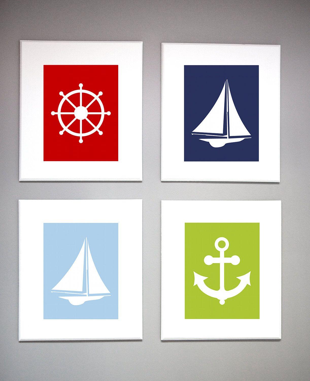 Nautical Nursery Wall Art Modern Sailboat Custom Design ...
