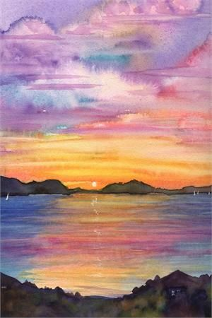 Sunset Oil Painting Oil Paiting Watercolor Sunset Landscape