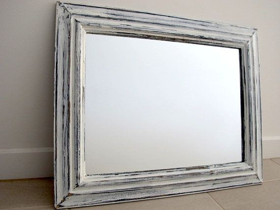 rustic mirror blue white distressed wooden mirror. Black Bedroom Furniture Sets. Home Design Ideas
