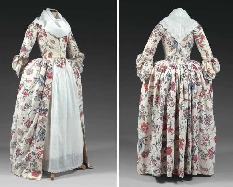 Belle robe à l'anglaise en indienne des Indes, vers 1780. Beautiful dress  in Indian Cotton, painted and … | Mode du xviiie siècle, Robe du 18ème  siècle, Mode rococo
