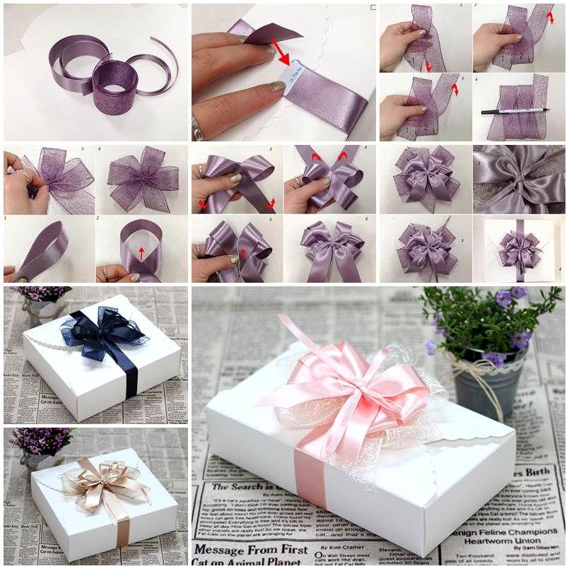 Diy Ribbon Bow For Gift Box Packaging Icreativeideas Com Gift Bows Gift Wrapping Bows Diy Ribbon