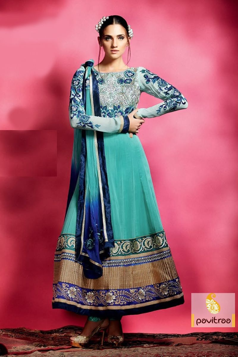 Pavitraa Exquisite Turquis Color Embroidery Salwar Suit more ...