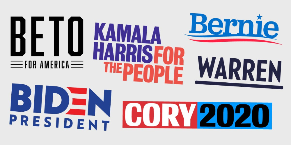 We Asked A Group Of Graphic Design Experts To Rate The 2020 Presidential Candidates Logos And They Were Not Impressed Political Logos Political Signs Political Slogans