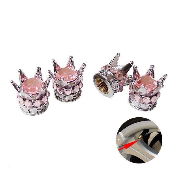 Silver Crown Pink Stones Car Wheel Air Tyre Valve Dust