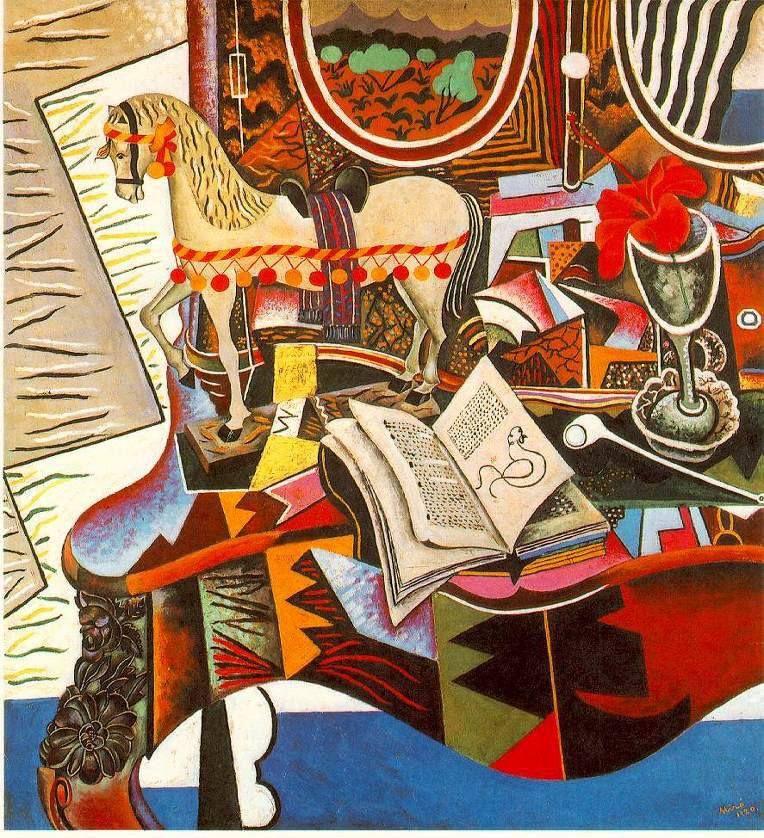 Joan Miró - Caballo, pipa y fior roja, 1920