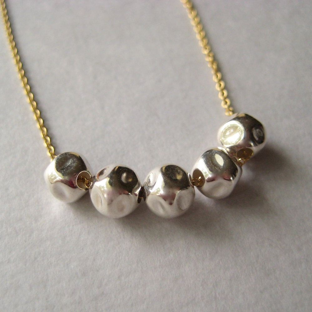 Sterling Bead Necklace, Sterling Silver Nugget Gold-Fill Chain Necklace Under 50. $30.00, via Etsy.