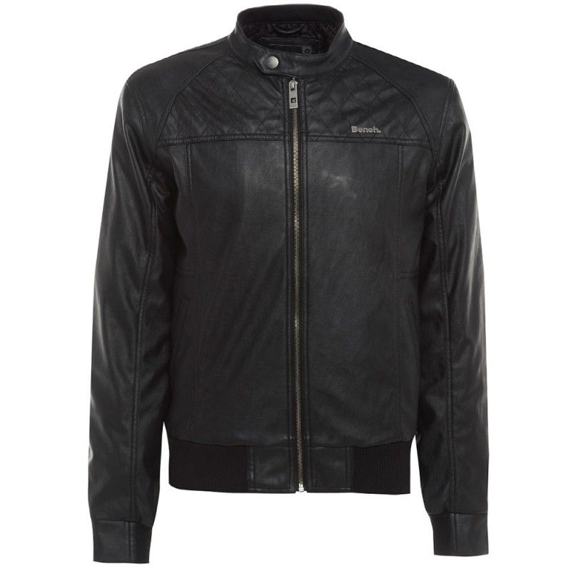 Bench Men S Leather Look Bomber Jacket With Biker Style Tab Fastened