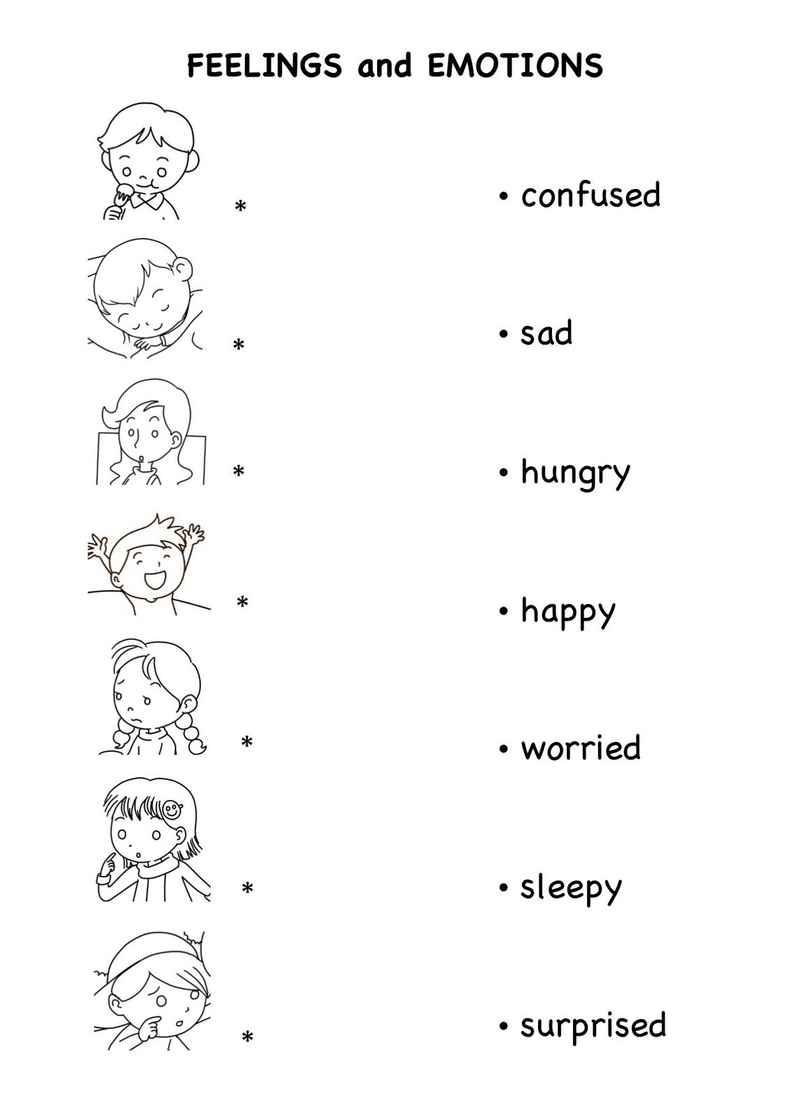 Worksheets On Emotion And Feelings For Kids - english teaching ...