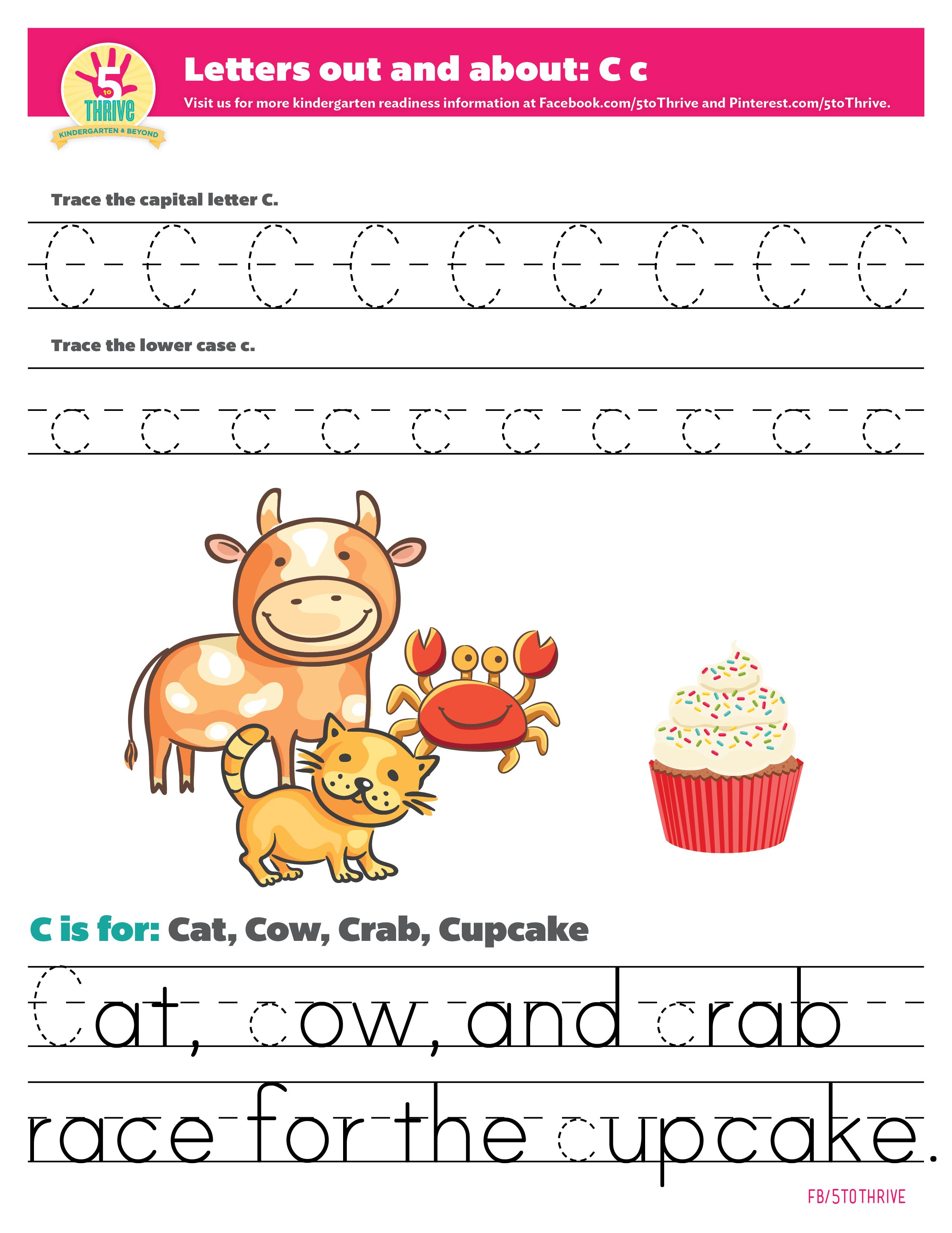 Letters Out And About C Is For Cat Cow Crab And Cupcake Trace The Upper And Lowercase