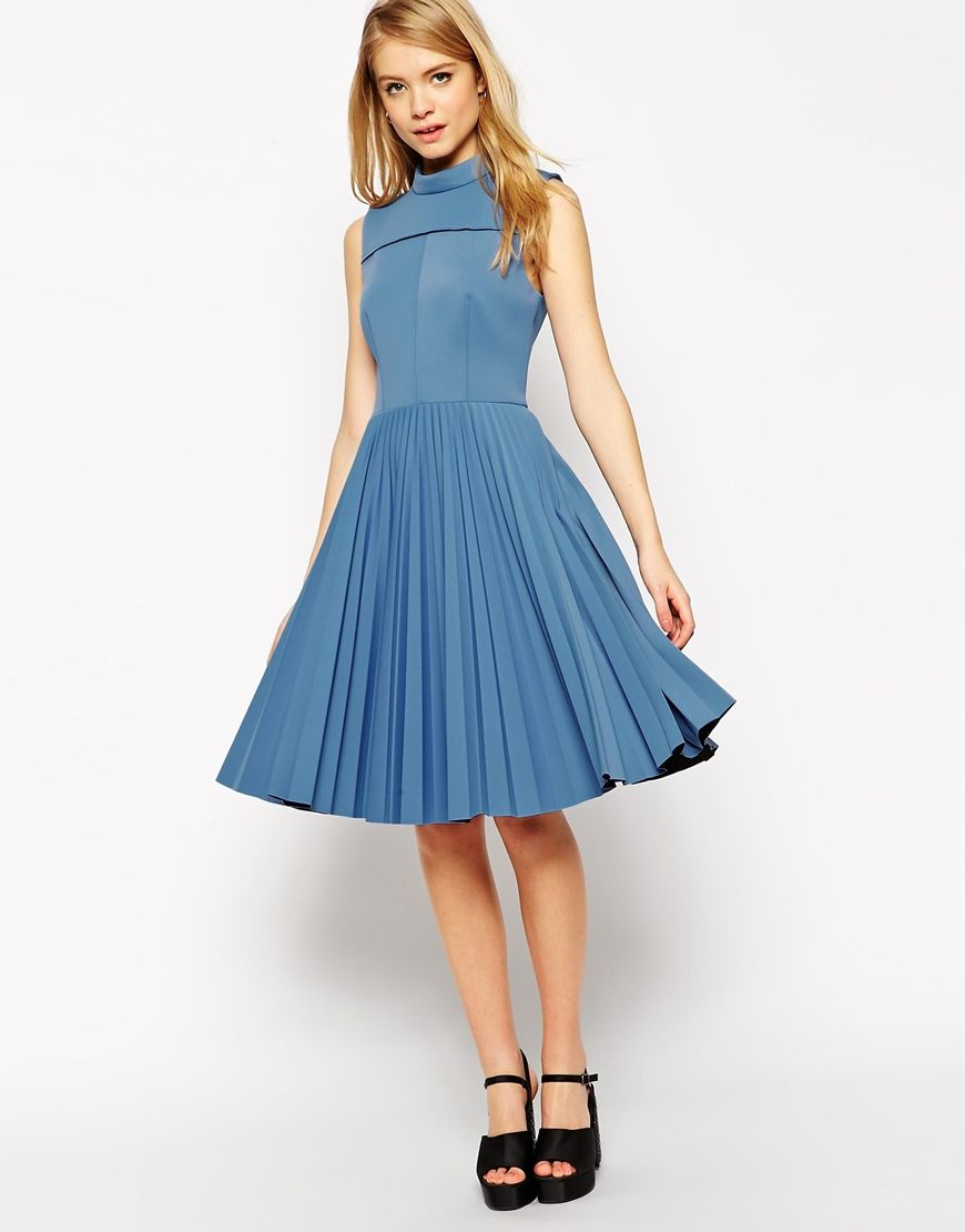 Asos wedding guest dress midi  Image  of ASOS Premium Bonded Scuba Pleat Midi Dress  Special