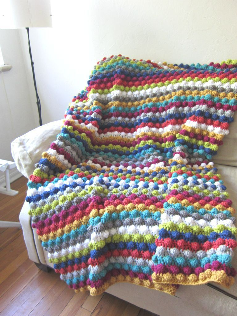 Striped Colorful Bobble Stitch Crochet Afghan | Häckeln, Stricken ...