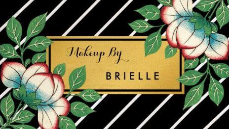 Diagonal stripes vintage floral gold makeup artist business cards reheart Gallery