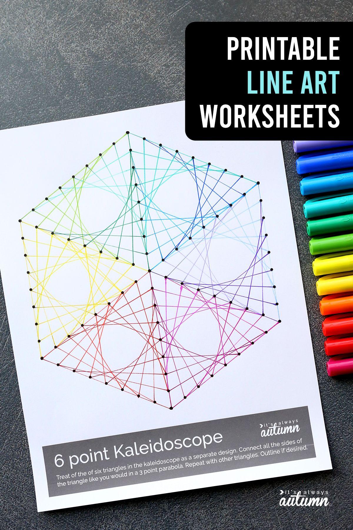 Geometric Line Art Worksheets Easy Art Project For Kids
