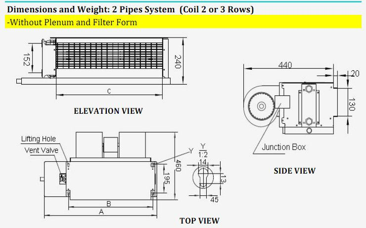 Chilled Water Fan Coil, Horizontal Fan Coil, Concealed Duct
