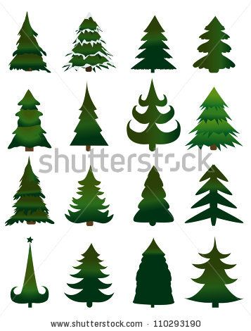 Set Of Christmas Trees Vector By Joinanita Via Shutterstock Christmas Tree Art Christmas Paintings Christmas Doodles