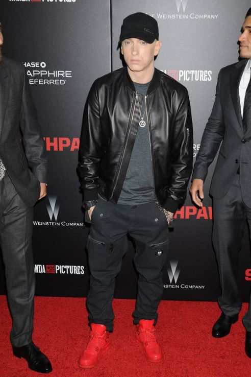 on sale ca79a 58e33 Eminem in Jordan 11Lab4 all-red sneakers.