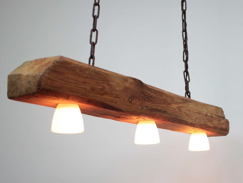 Hängelampe, Deckenlampe, Lampe, rustikal, Holz, Holzbalken