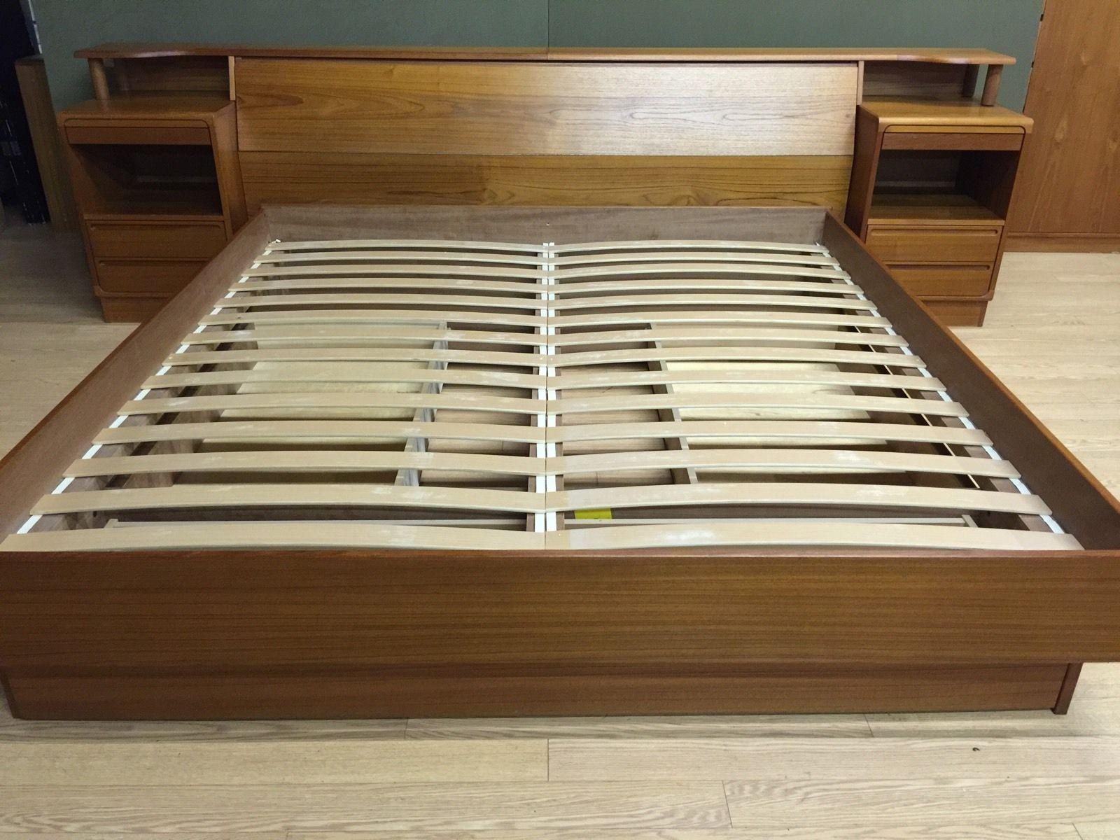 Teak Danish Modern King Platform Bed Torring Under Bed Storage Leather Backrests Ebay King Platform Bed Bed Storage Under Bed Storage