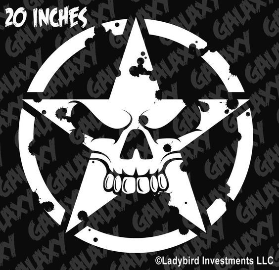 Military Jeep Army Star Circle Skull Hood Decal USMC Willys - Custom vinyl decals for car hoodsfull color graphic vinyl sticker decal skull ghost fit car hood
