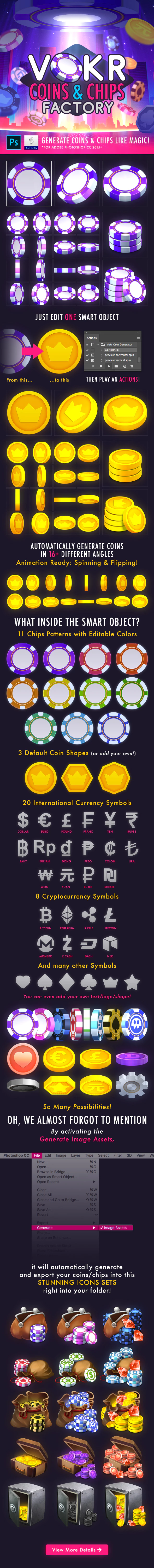 Vokr Coins Chips Factory By Weirdeetz Graphicriver Photoshop Actions Amazing Photoshop Currency Symbol