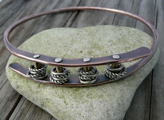 Bangle bracelet forged mixed metal copper and