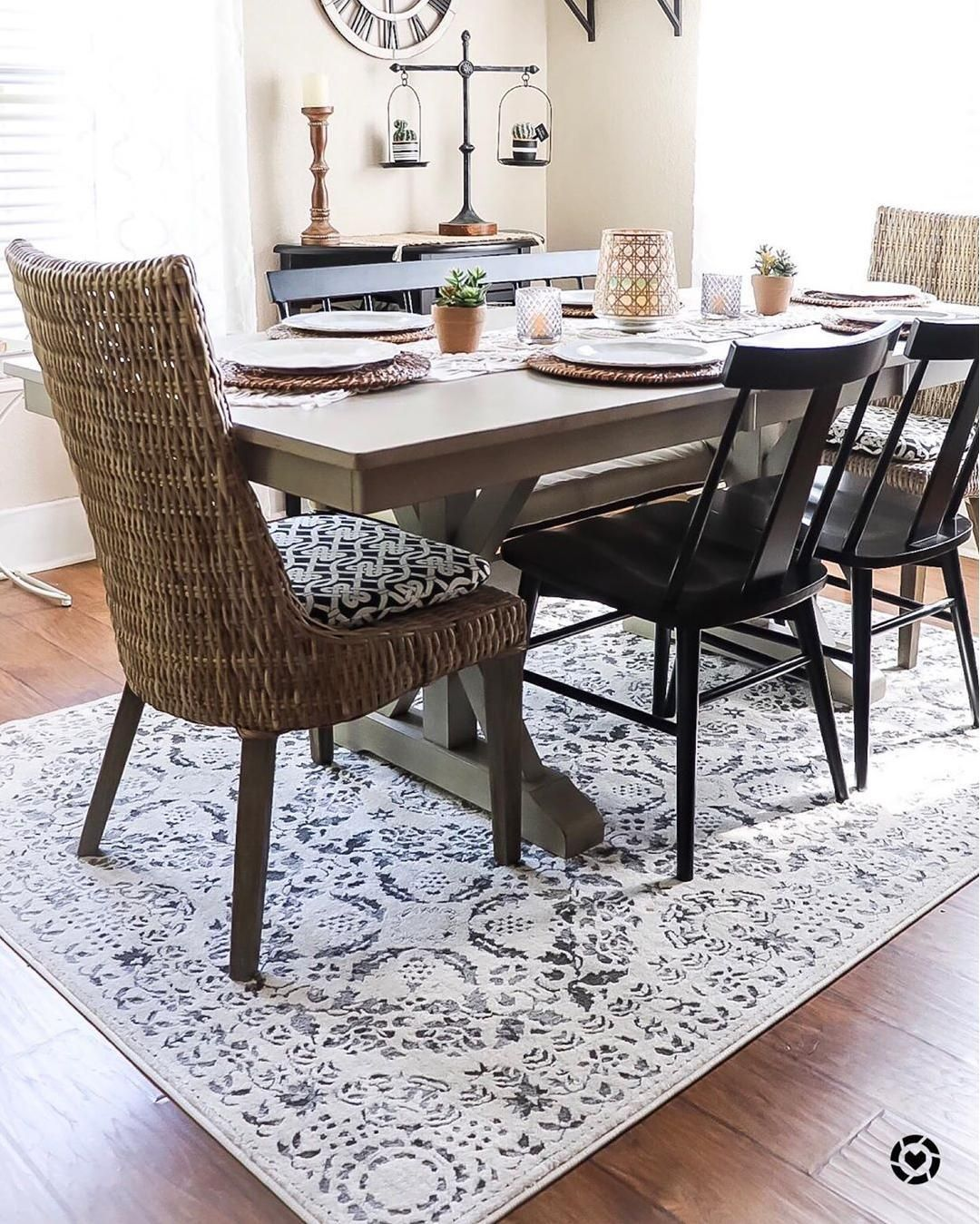 How Gorgeous Is This Diningroom By Purposefuls Featuring Our Megargel Area Rug Boutiquerugs Farmhouse Farmhou Rugs In Living Room Area Room Rugs Room Rugs
