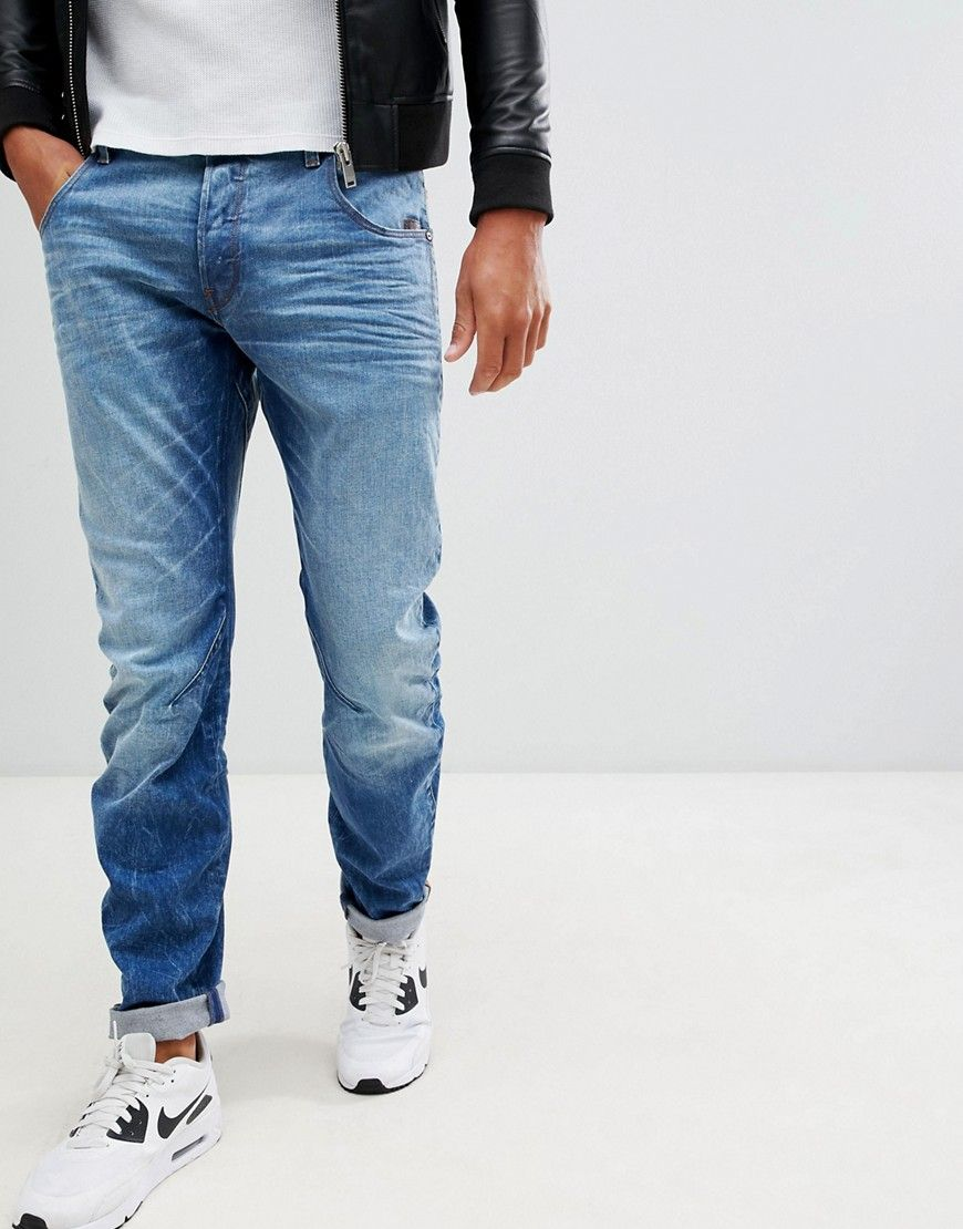 G STAR ARC 3D SLIM FIT JEANS IN LIGHT AGED BLUE. #g star
