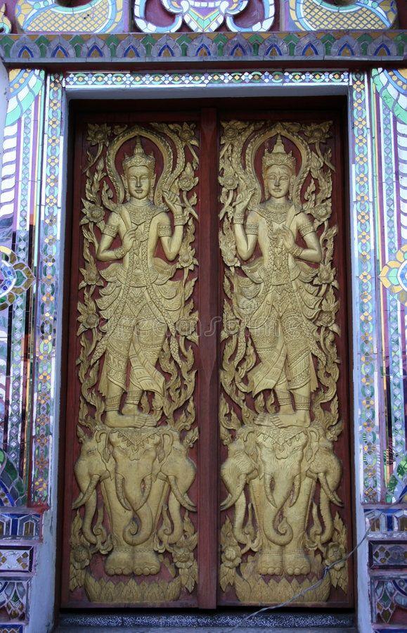 Buddhist door \ The door of a temple in Chiang Mai Thailand.\  (\ Download Buddhist door stock image. Image of religion arts asia - 1484747. & Buddhist door: \
