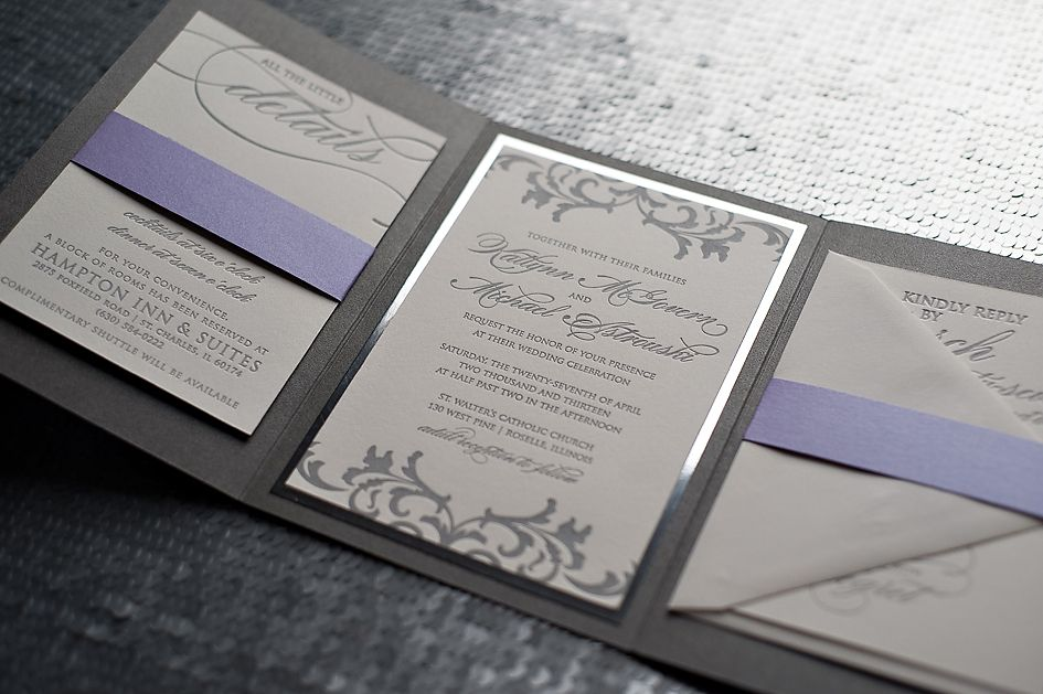 Justinviteme Silver And Purple Wedding Invitations Mirror Paper Custom Letterpress