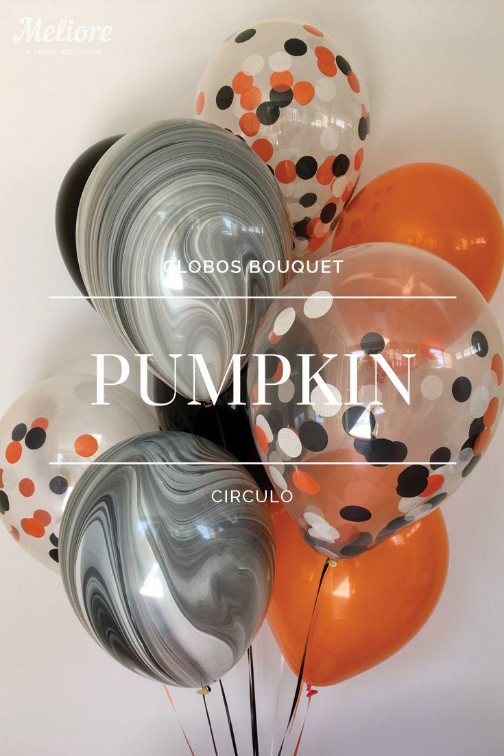 Bolsa con 6 globos de colores naranja negro y negro - Decoraciones en color plata ...