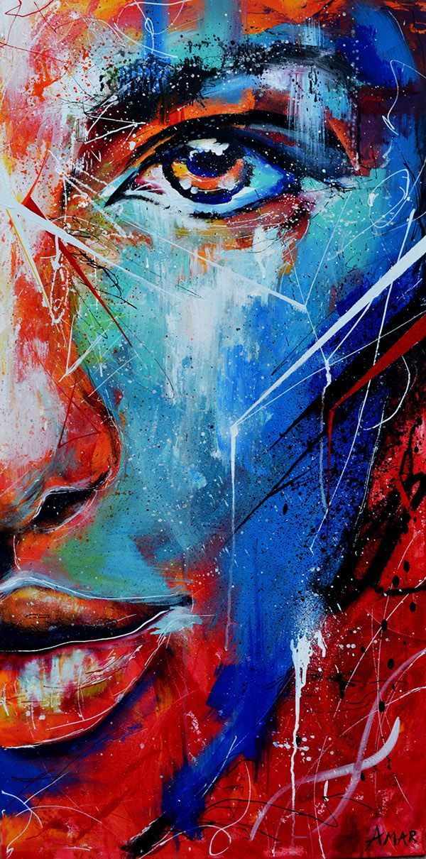 Fire and ice abstract portrait painting on behance for Crazy mural lady