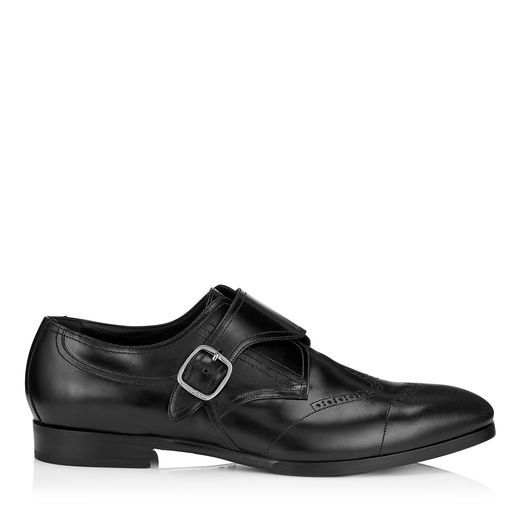 JIMMY CHOO Patrick Black Shiny Calf Leather Monk Strap Brogues. #jimmychoo # shoes #