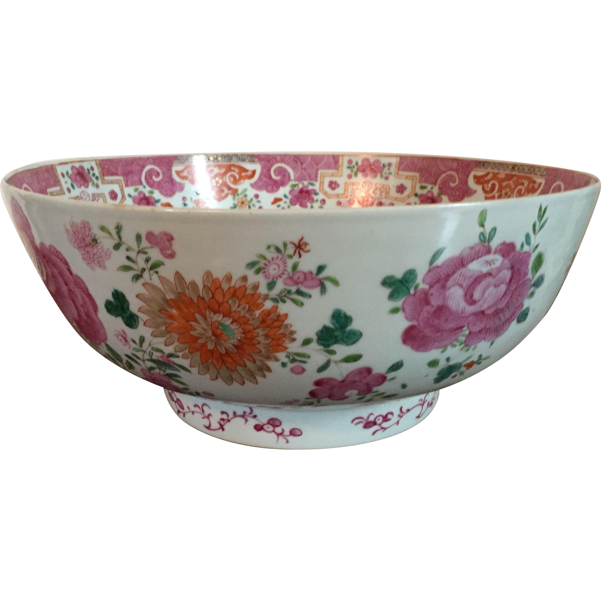 Large Antique 18th Century Chinese Export Porcelain Punch Bowl In Famille Rose Palette Chinese Bowls Plates And Bowls Decorative Bowls