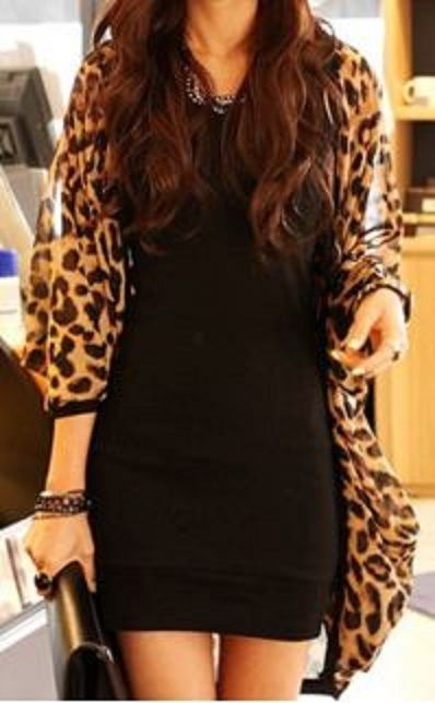 Stylish Leopard Print 3/4 Sleeve Women's Chiffon Cardigan ...