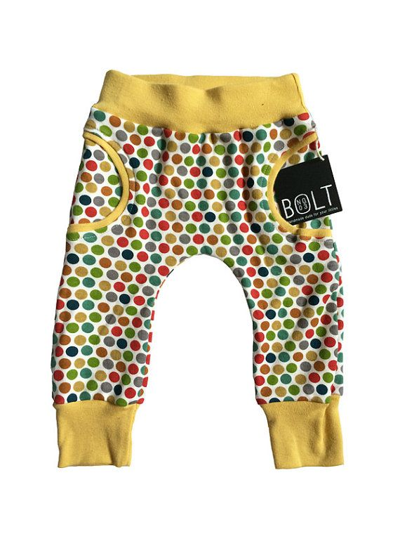 Polka Dot Faux Pocket Unisex Organic Pants With Cuff By