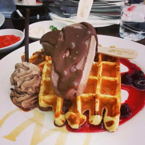 chocolate waffle with magnum ice cream