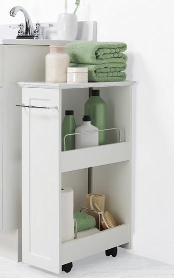 Upscale Bathroom Cart Utility White Storage Bin On Wheels 2 Wood Shelves