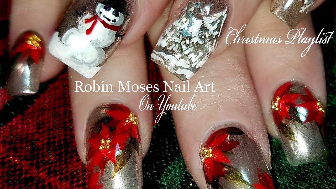 Christmas chrome nails poinsettia and snowman nail art design christmas chrome nails poinsettia and snowman nail art design tutorial prinsesfo Choice Image
