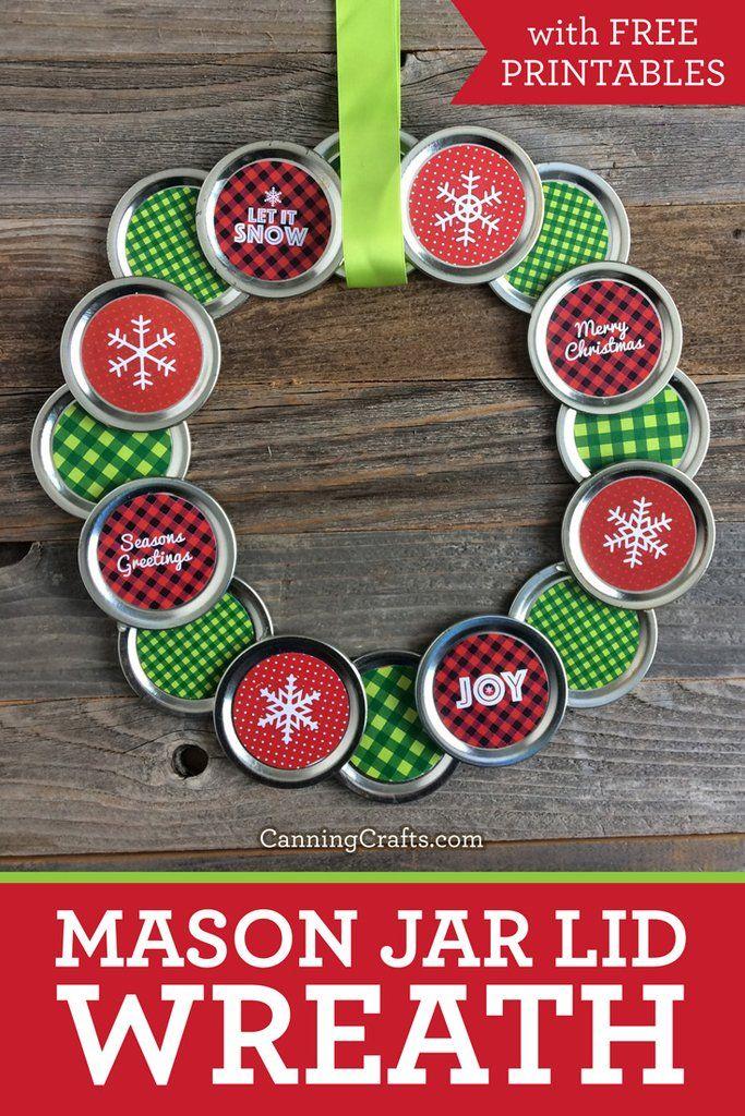 Christmas Mason Jar Lid Wreath with Free Printables