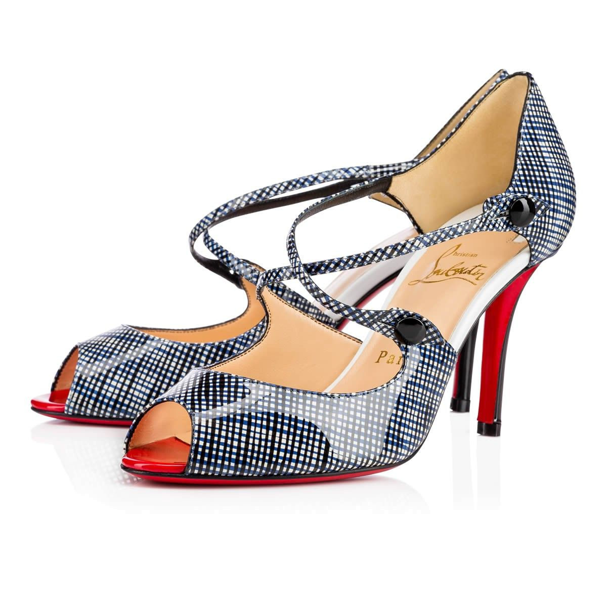 buy popular 5ff63 7a890 CHRISTIAN LOUBOUTIN Debriditoe 85Mm Navy Patent Filet ...