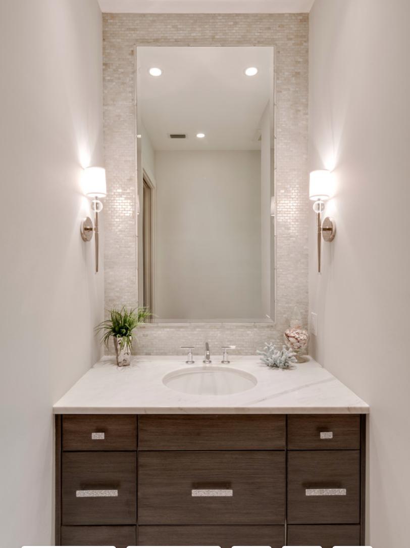 Half Bath Tile Behind Mirror Sconces Puka Iridescent 1 2 X 1 1 4 Tiles In 12x12 Sheets Powder Room Design Half Bath Remodel Powder Room Small