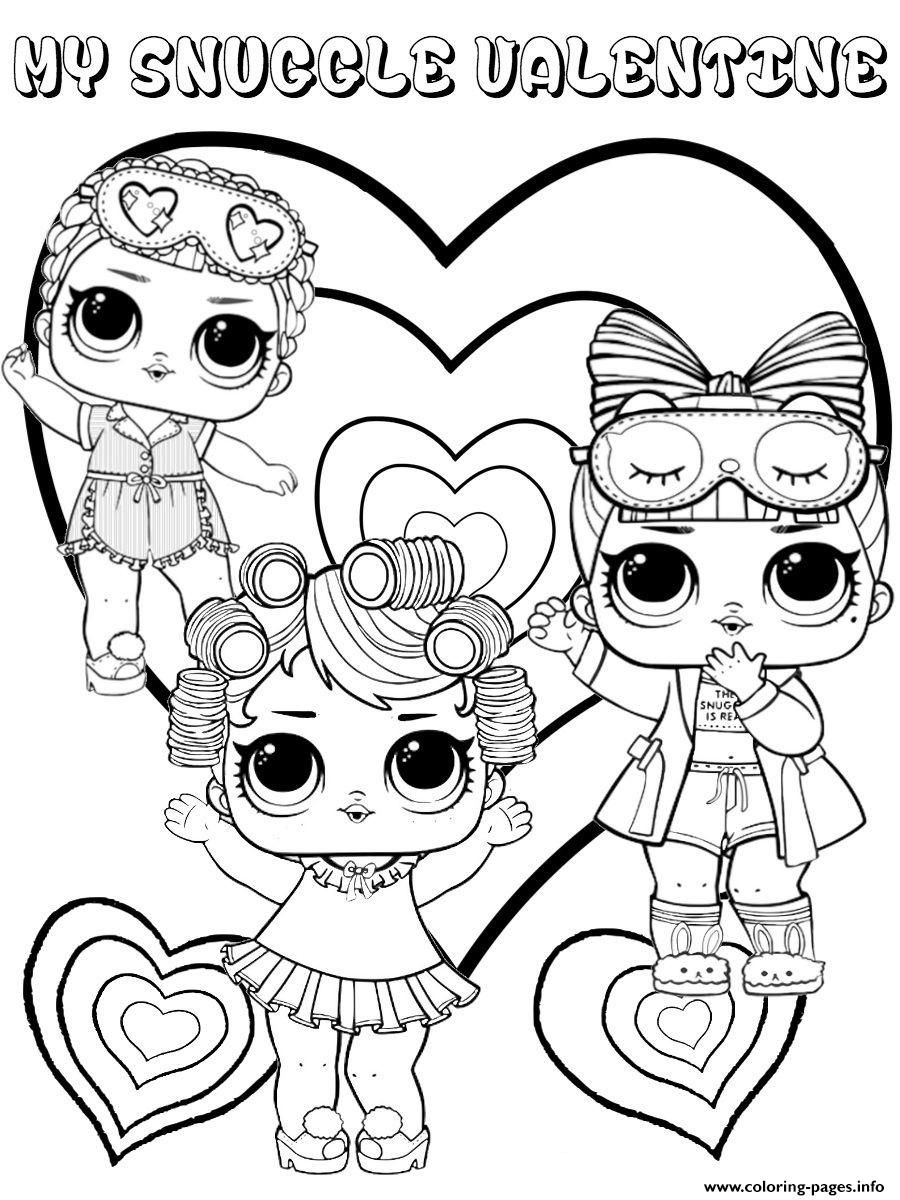Print snuggle valentine lol dolls kids coloring pages