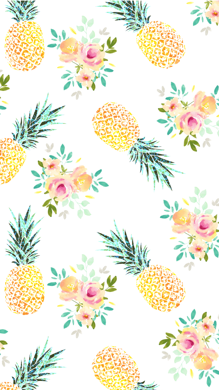 iPhone wallpaper background cute yellow pineapple summer